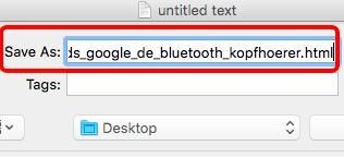 Google Trends Java Script Code Schnipsel in HTML und als HTML Datei speichern.